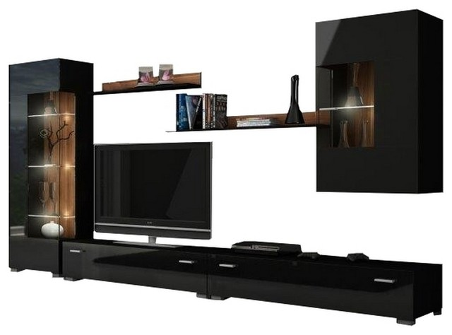 "Hamburg Entertainment Center Wall Unit With Led Lights 70"" Tv Stand, Black."