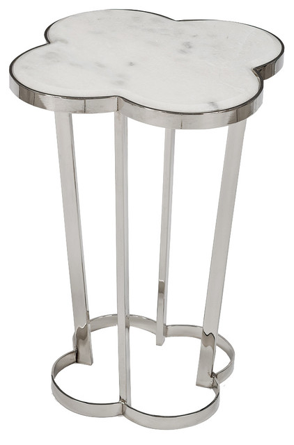 Lansbury Hollywood Marble Top Silver Metal Clover End Table