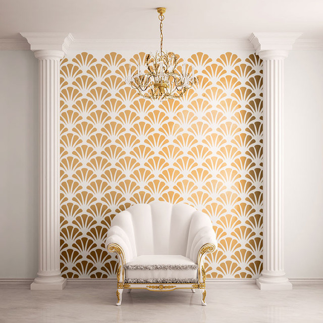 scallop shell pattern wall stencil contemporary wall stencils. beautiful ideas. Home Design Ideas