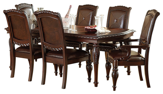 steve silver antoinette 7-piece leg dining room set in cherry