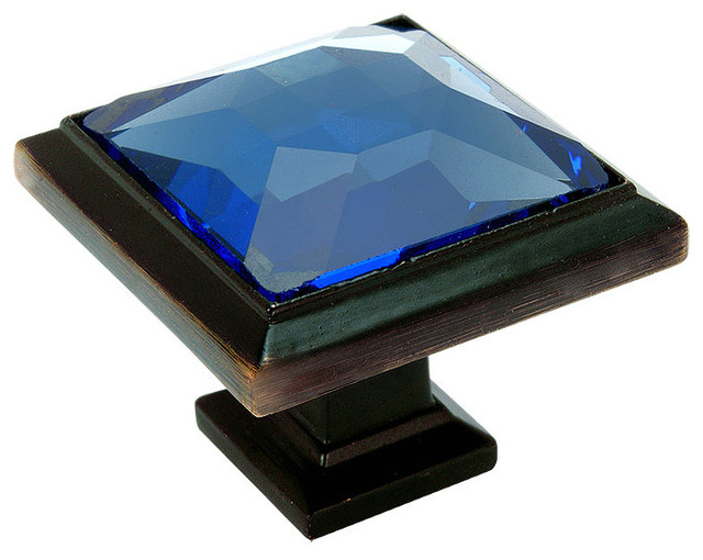 Cosmas 5883ORB-BL Oil Rubbed Bronze and Blue Glass Square Cabinet Knob - Cabinet And Drawer ...