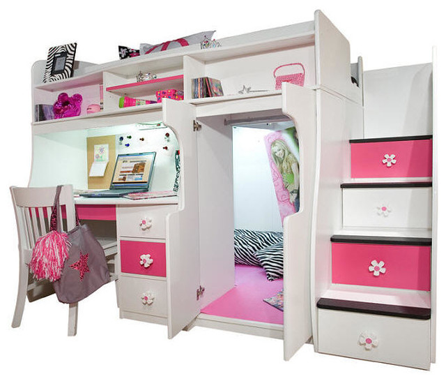 Elena S Twin Size Secret Stairway Loft Bed Contemporary