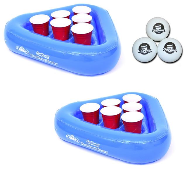 Pool Pong Rack Floating Beer Pong Set, Includes 2 Rafts And 3 Pong Balls.