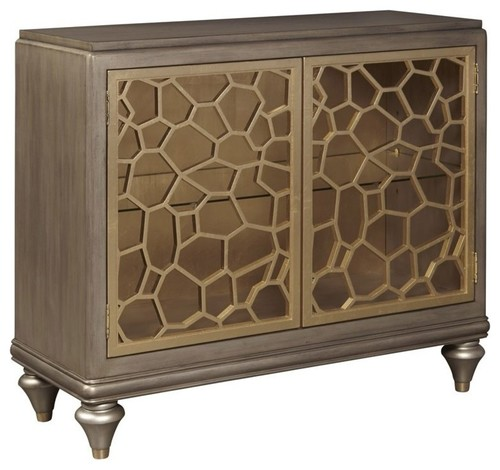 Home Fare 2-Door Accent Chest With Pierced Gold Leaf Doors