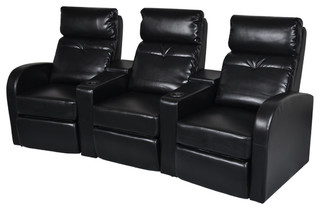 Artificial Leather Home Cinema Recliner Reclining Sofa 3-seat Black