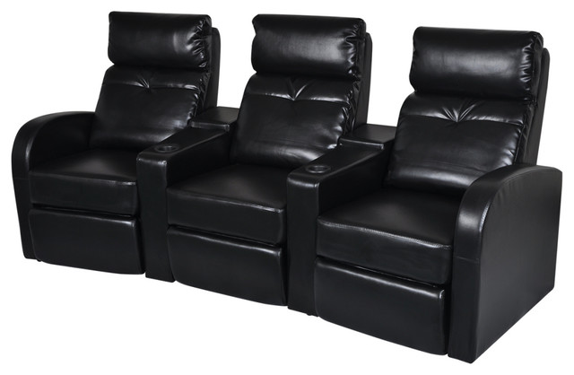 vidaXL Artificial Leather Black Home Theater Recliner Sofa 3-Seat Loungers