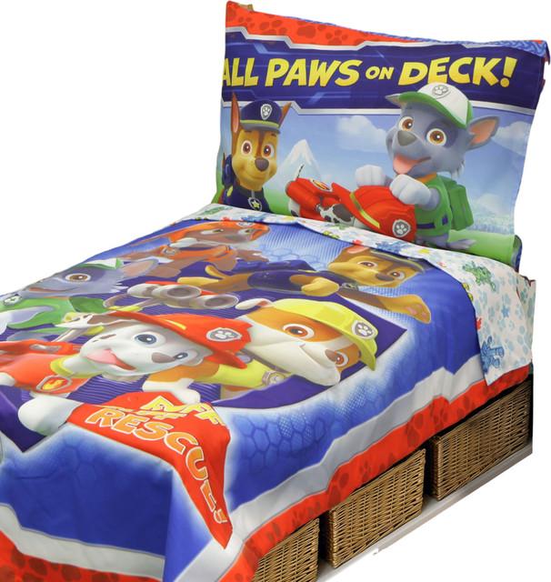 paw patrol toddler all paws on deck comforter and sheet set kidsbedding