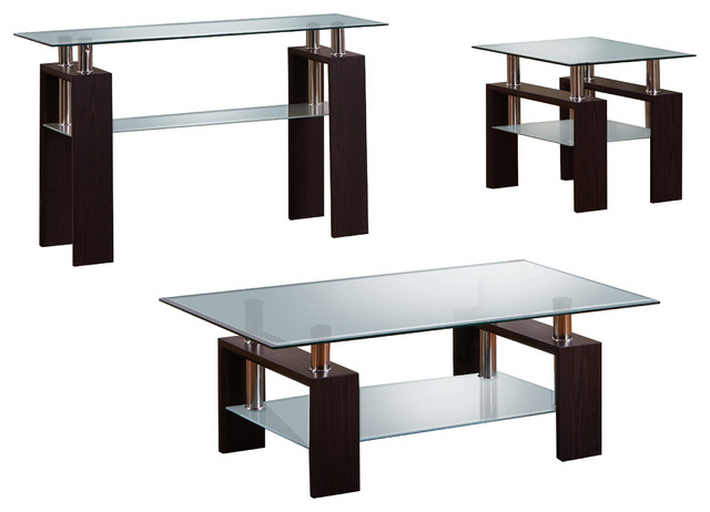 Modern Espresso 3 Piece Coffee End And Console Table Set