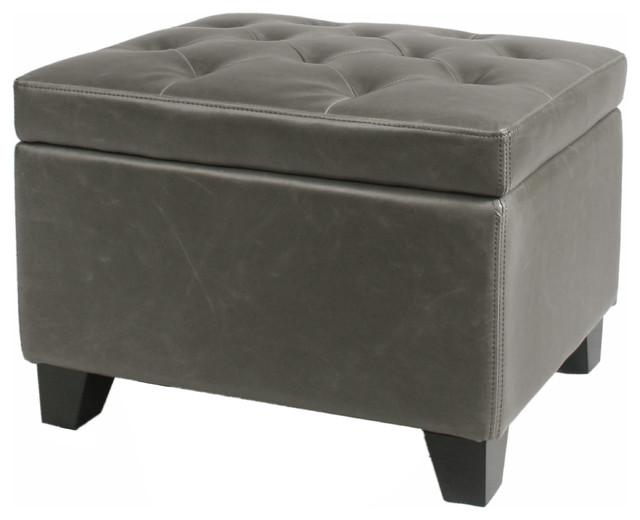 Surprising Julian Rectangular Bonded Leather Storage Ottoman Vintage Gray Short Links Chair Design For Home Short Linksinfo