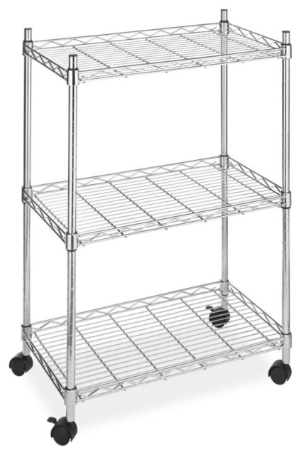 3 Tier Metal Cart On Wheels For Kitchen Microwave Bathroom Garage  Contemporary Utility