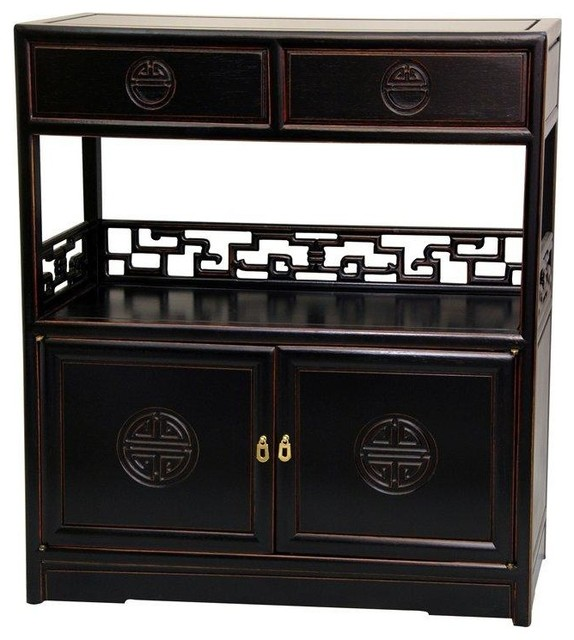 Rosewood Long Life Display Cabinet - Antique Black traditional-accent ...