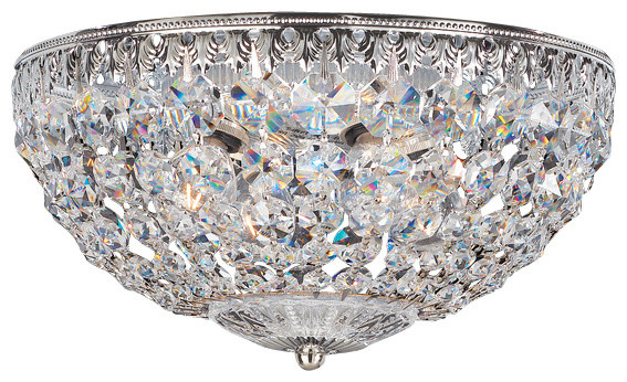 Schonbek Lighting 1560-40a Petit Crystal Polished Silver Flush Mount.