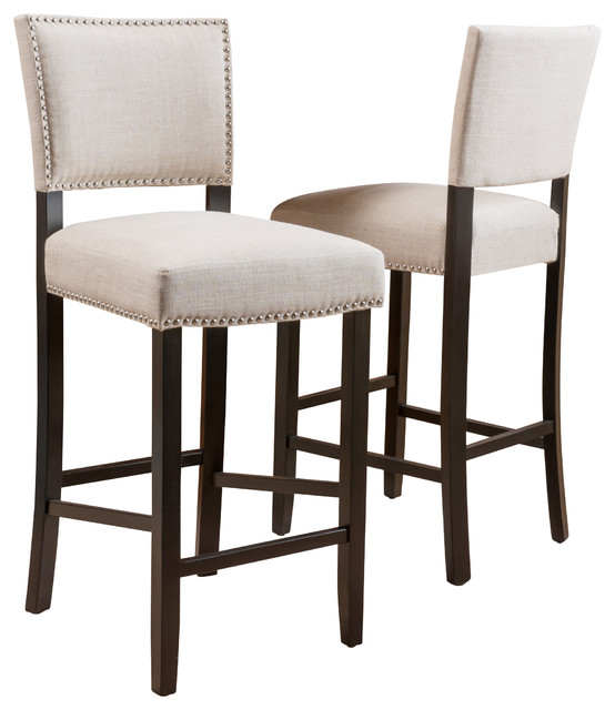 Castana Beige Fabric Backed Bar Stools Set Of 2