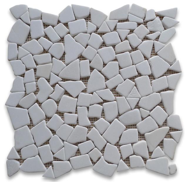 12x12 Thassos White River Rocks Pebble Stone Mosaic Tile Tumbled