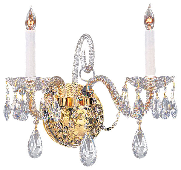 Traditional Crystal Wall Sconces : Crystorama 5042-PB-CL-MWP Traditional Crystal Wall Sconce - Traditional - Wall Sconces - by ...