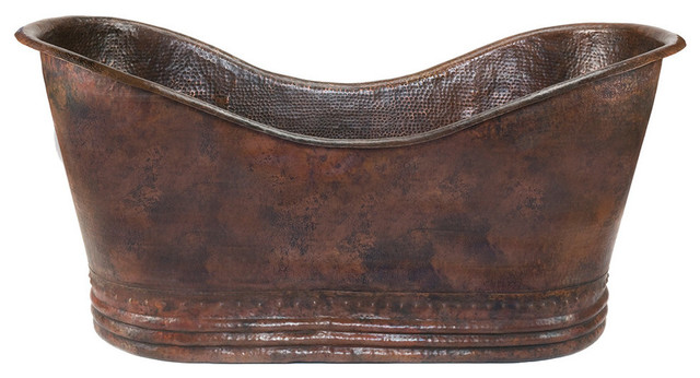"67"" Hammered Copper Double Slipper Bathtub."