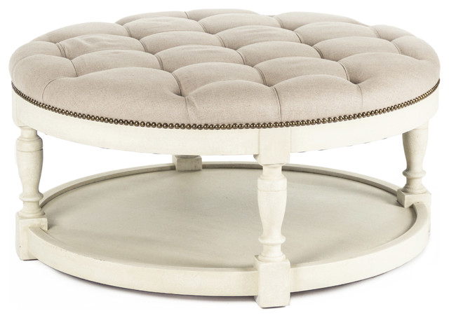 Marseille French Country Cream Ivory Linen Round Tufted Coffee Table Ottoman Traditional