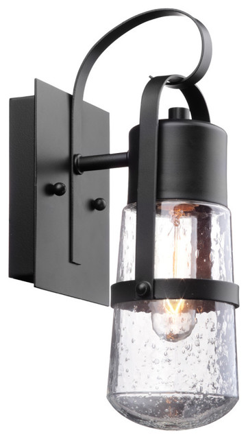 """Helm 12"""" 1-Light Matte Black Outdoor Wall Sconce with Clear Seeded Glass Shade"""
