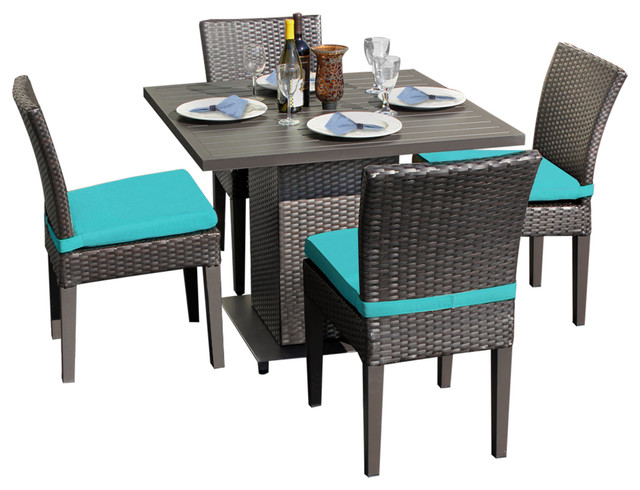 Square Table For 4 Part - 37: Venus Square Dining Table With Armless Chairs, 5-Piece Set, Blue Tropical-