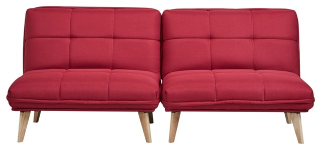 Abbyson Living Twain Fabric Convertible Chairs, Set Of 2, Red
