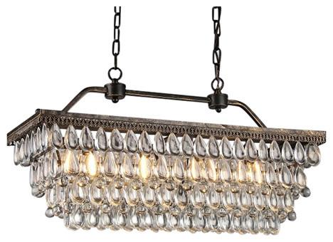 Amanda antique style copper 4 light rectangular crystal chandelier amanda antique style copper 4 light rectangular crystal chandelier aloadofball Image collections