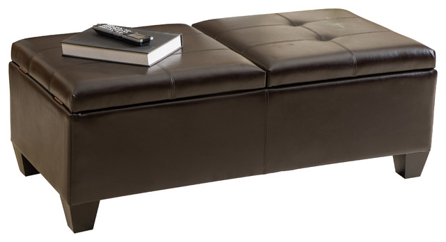 Alpine Leather Storage Ottoman Coffee Table transitional-footstools-and- ottomans - Shop Houzz GDFStudio Alpine Leather Storage Ottoman Coffee Table