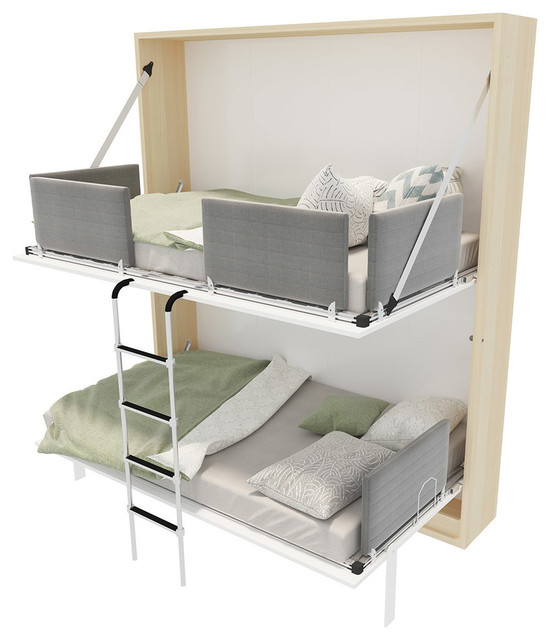 twin bunk murphy bed. Pensiero T Twin Wall Bunk Bed With Table, Gloss White And Light Wood Twin Bunk Murphy Bed