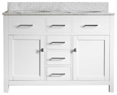San Clemente 48 in. Vanity with Italian Carrara Marble Vanity Top, White