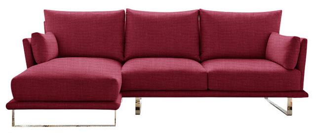 Eleanor Chaise Sofa, Magenta, 3-Seater, Left Hand Facing