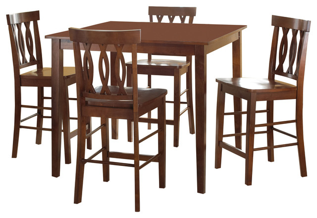 Richmond 5 Piece Counter Height Table Set, Espresso