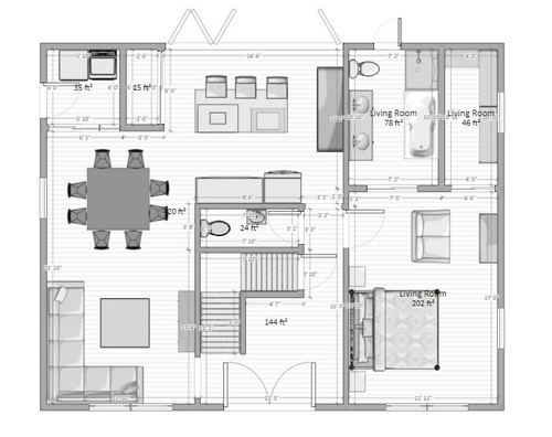 We are kinda stumped on floor plan and looking for some ideas to be pitched at us floor plan that we are considering