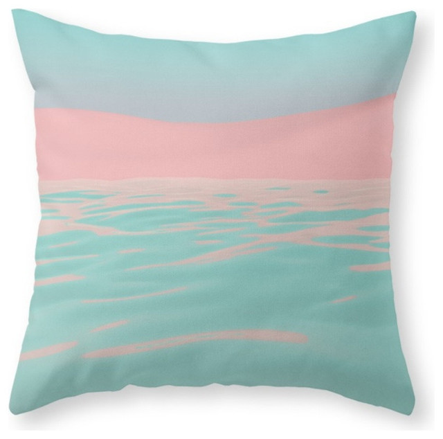 Society6 Pink Beach, Throw Pillow - Beach Style - Decorative Pillows - by Society6