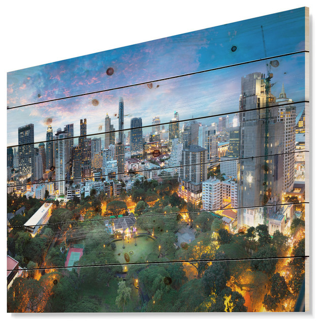 Designart Bangkok City Skyline Cityscape Wood Wall Art Contemporary Prints And Posters By Design Art Usa Houzz