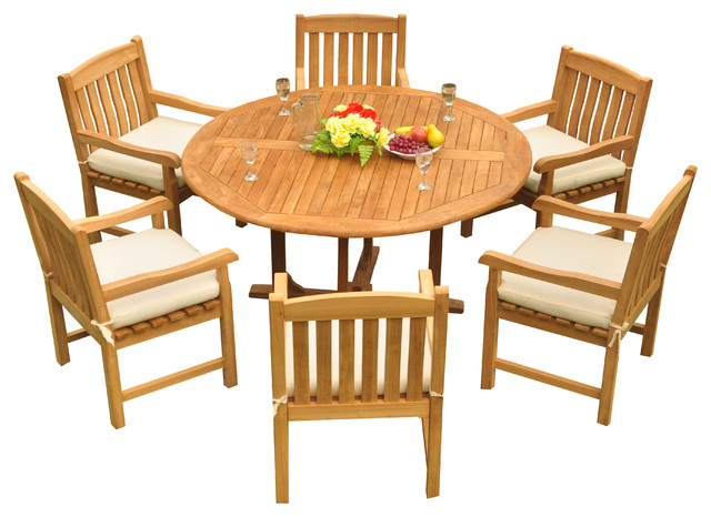 Amazing 7 Piece Outdoor Teak Dining Set 60 Round Table 6 Devon Arm Chairs Pdpeps Interior Chair Design Pdpepsorg
