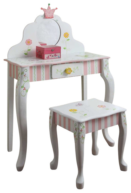 Teamson Design Princess And Frog Girls Vanity Table And Stool Set  Traditional Kids Bedroom