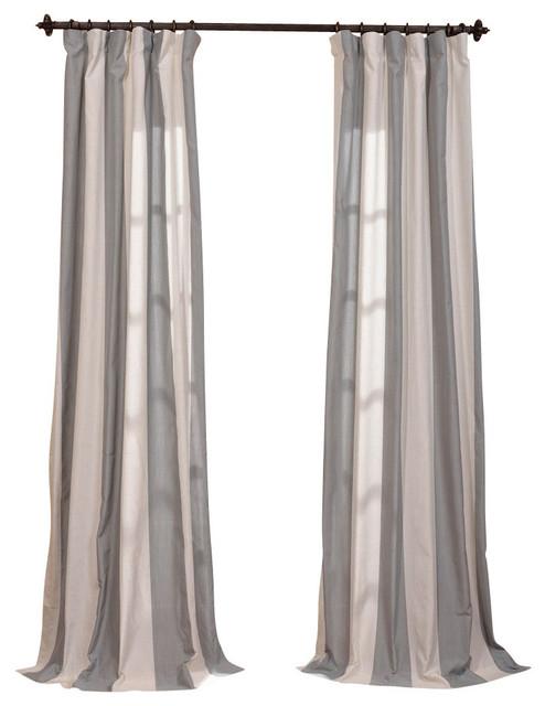 Del Mar Gray Linen Blend Stripe Curtain Single Panel, 50x108.