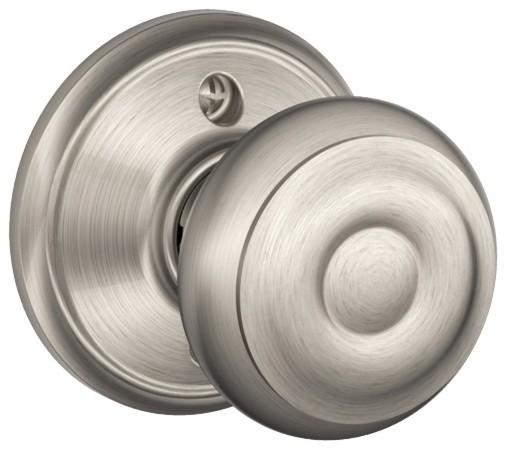 Schlage F10GEO619 Georgian Door Knobset, Satin Nickel Transitional Doorknobs