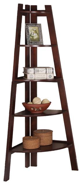 Display Corner Wall Shelf Storage Ladder Shape Bookcase