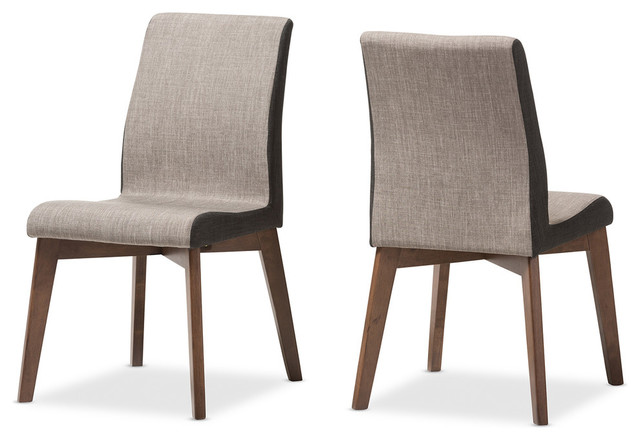 Baxton Studio Kimberly Mid-Century Modern Dining Chairs, Beige/brown, Set Of 2