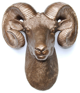 Resin Ram Head Wall Mount Wall Sculptures By Near And Deer