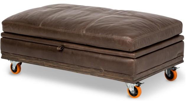 Aico Michael Amini Studio Detroit Leather Storage Ottoman With Wheels