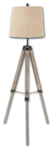 urban design tripod floor lamp weathered wood
