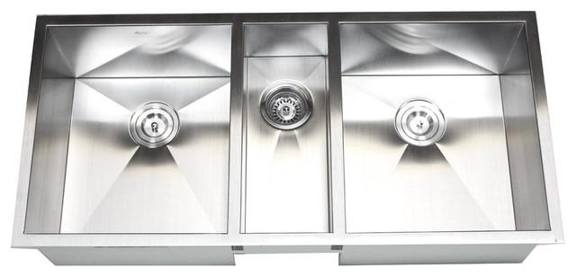 42 stainless steel undermount zero radius triple bowl kitchen sink modern kitchen sinks - Bowl Kitchen Sink