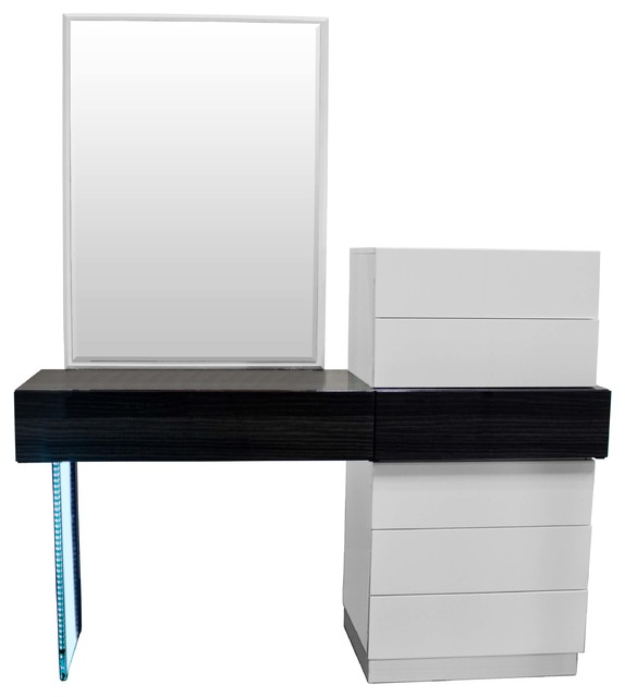 Ireland Modern White And Gray Vanity Dresser With Mirror 2 Piece Set