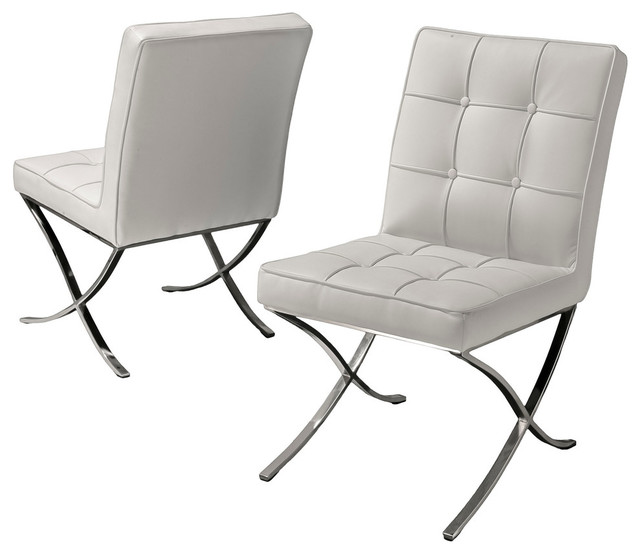 Pandora Modern Button Tufted Bonded Leather Dining Chairs (Set of 2)