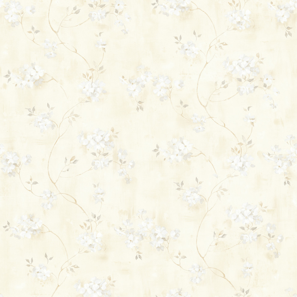 Rosemoor Gray Country Floral Wallpaper Contemporary Wallpaper