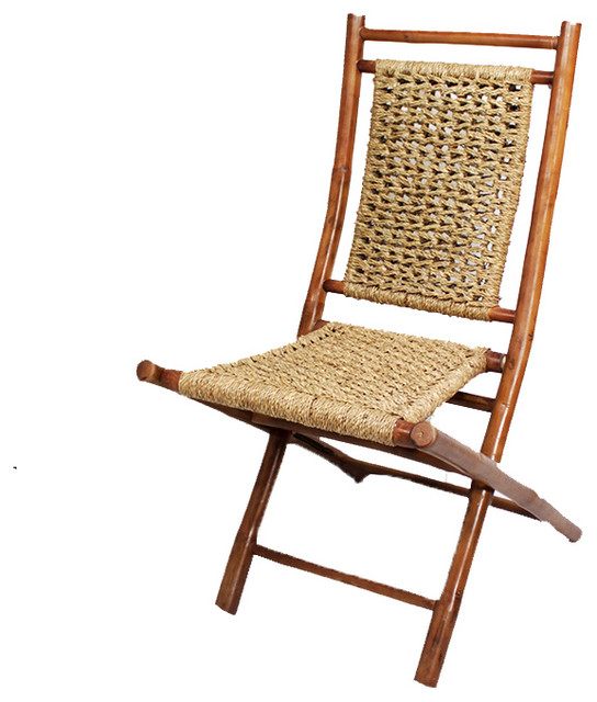 Wonderful Lanikai Bamboo Folding Chair With Open Link Seagrass Weave, Set Of 2 Asian  Folding