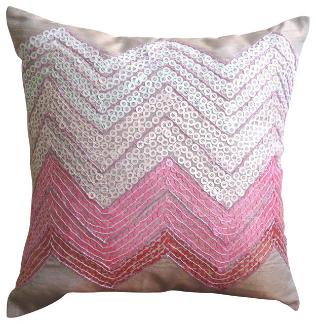 Sequins Chevron Art Silk Pink Pillow Cases Drama Princess Modern Extraordinary Princess Decorative Pillows