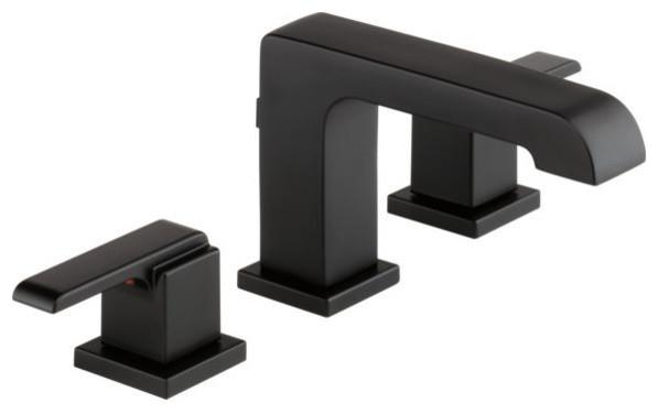 Delta Ara Two Handle Widespread Bathroom Faucet, Matte Black, 3567-BLMPU-DST