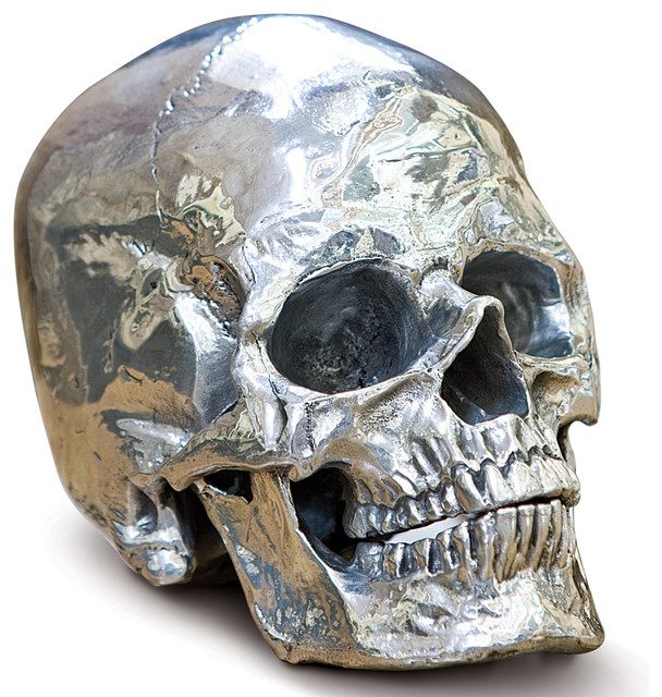 Hamlet Industrial Loft Polished Nickel Metal Skull  : industrial sculptures from www.houzz.com size 608 x 640 jpeg 142kB